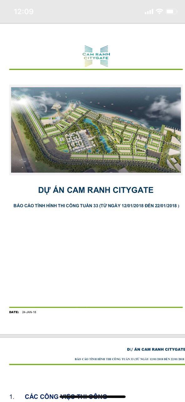 tiến độ xây dựng cam ranh city gate đến 22-1-2018