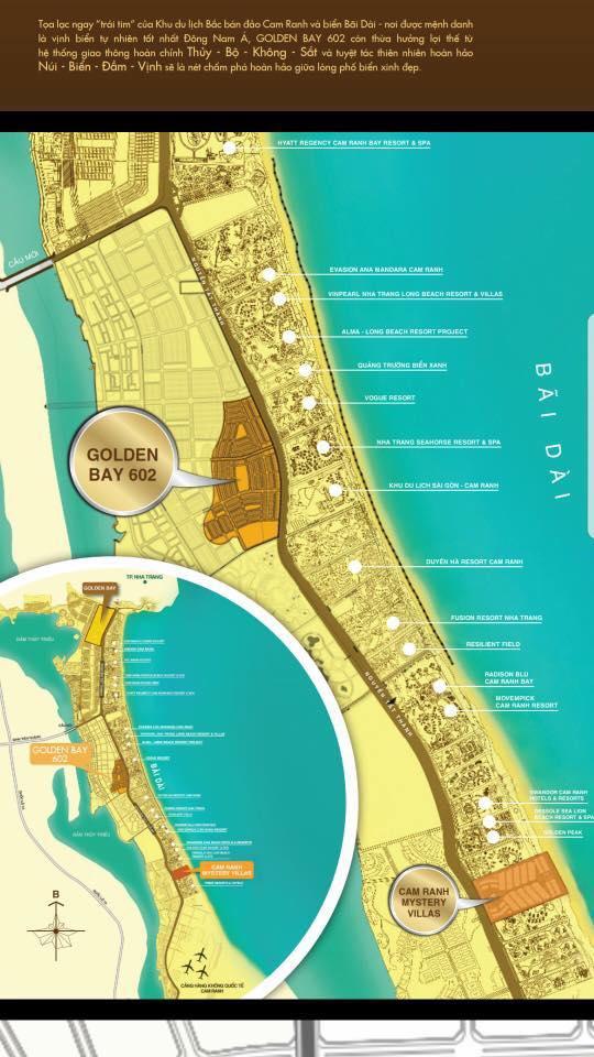 vị trí dự án đất nền Golden Bay 602