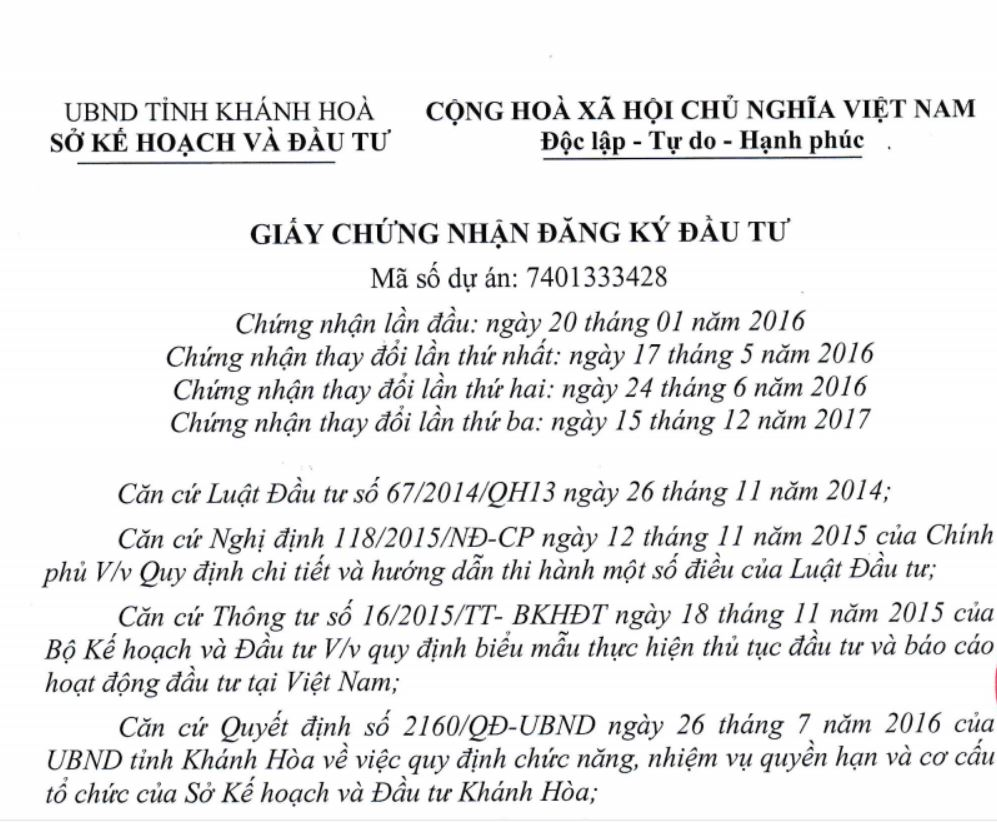 giấy chứng nhận đầu tư Cam Ranh City Gate