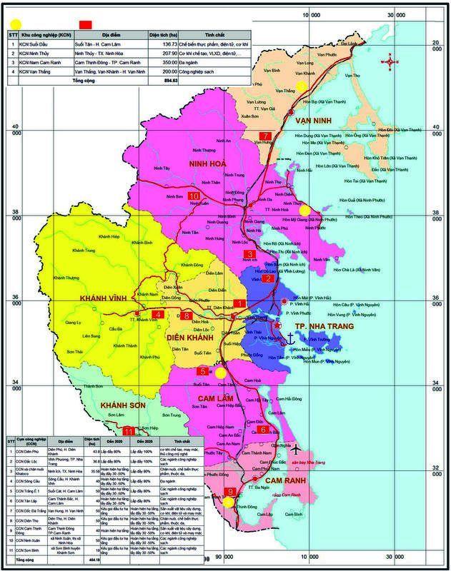 Bản đồ quy hoạch Khu Công Nghiệp Khánh Hòa giai đoạn 2015-2025 định hướng phát triển đến 2030